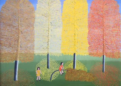 Girl Playing on a Tree (1976)<br>oil on canvas, 24 x 30 inches