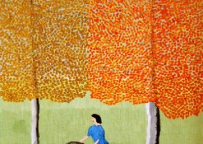 Girl Rolling a Tire (1971)<br>oil on canvas, 16x12 inches, SOLD