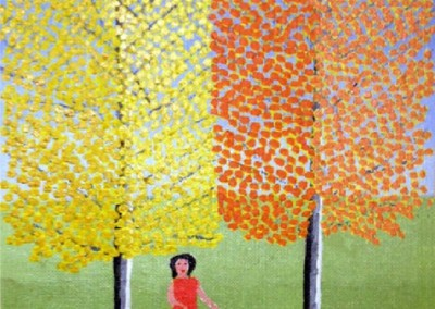 Girl Walking a Dog (1975)<br>oil on canvas, 10x8 inches, SOLD