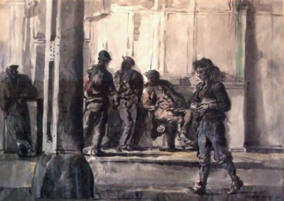 Girl and Bums (1944)<br>watercolor on paper, 22x30 inches
