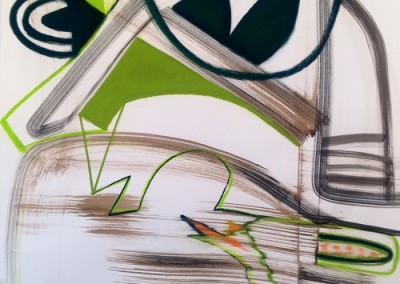 Green (2015)<br>pastel, ink on paper, 41.5 x 29.5 inches (framed)