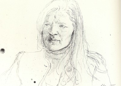 Helga (1972)<br>graphite on paper, 10x13 inches, SOLD