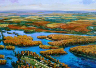 Arkansas Delta #50 (2009)<br> acrylic on canvas, 36 x 60 inches