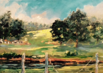 Home Place (2015)<br>oil on canvas, 12 x 24 inches