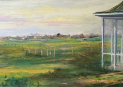 Homestead #2<br>oil on board, 16 x 32 inches
