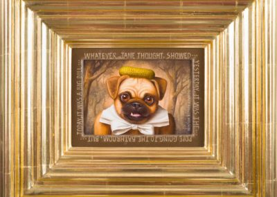 Jane Guarding (As Best She Could) (1996)<br>oil on panel, 6 x 8 inches (14 x 16 inches framed)<br>Frame museum quality, designed by the artist, hand carved, 24 karat gold leaf.