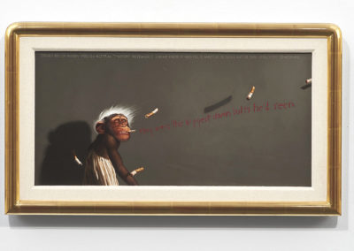 Jimmy Knew It Was All A Matter of Scale ... (1985-86)<br>oil on canvas, 12 x 24 inches (16.5 x 46 inches on wall)