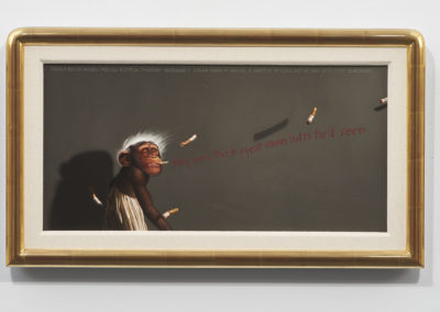 Jimmy Knew It Was All A Matter of Scale ... (1985-86)<br>oil on canvas, 12 x 24 inches, 16.5 x 46 inches on wall