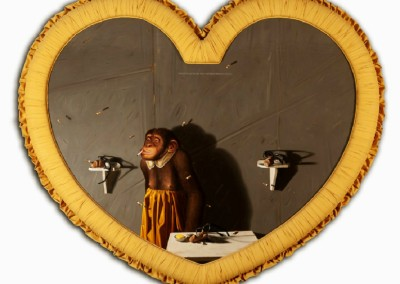 Jimmy in Mrs. Jenkins Hallway (1986)<br>oil on panel, 42x52 inches, 52x62 inches framed, heart-shaped frame designed by the artist with yellow fabric hunting
