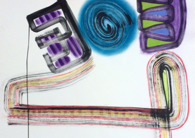Juggle<br>pastel ink on paper, 41 x 29 inches
