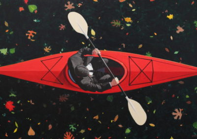 Kayaker with Leaves (2017)<br>acrylic on canvas, 36 x 60 inches