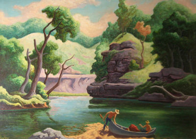 Landing at Jack Fork (1965)<br>oil on panel, 11 x 14 inches
