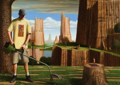Lawn Care in the Garden of Eden (2004)<br>oil on linen, 60x72 inches
