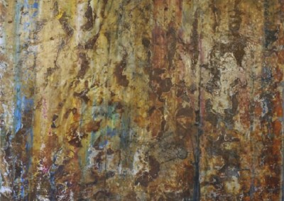 757 Layers of Reference (2015)<br>rust and charcoal on canvas, 48x60 inches