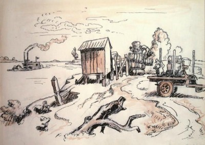 Loading Cotton (1928)<br>pen, black ink over pencil with watercolor, 8.5x11.5 inches