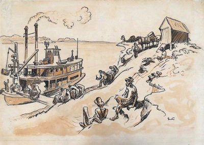 Loading Cotton - Red River Landing (1928)<br>mixed media on paper, 10.25 x 14.75 inches