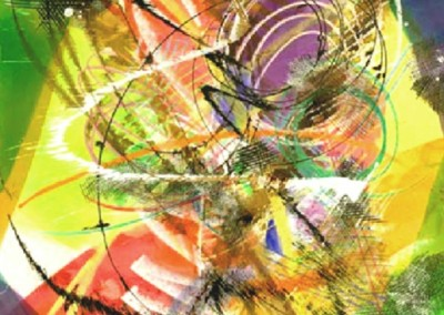 Looking Into Spirit Four (2010)<br>mixed media on paper, 30x22 inches