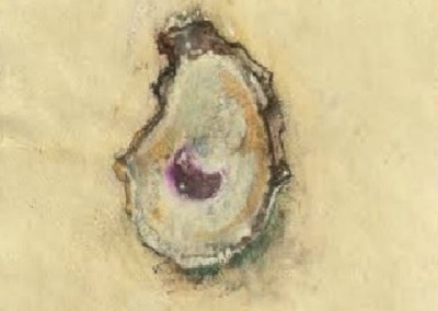 Magnificent Oyster (2014)<br>watercolor, pastel, and graphite on handmade paper, 12x9 inches
