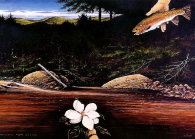 Magnolia - Granda Floria (2000)<br> oil paint and dry pigment on rag paper, 42 x 63 inches