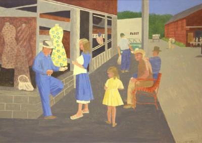 Main Street Marked Tree (1992)<br>acrylic on masonite, 28x40 inches