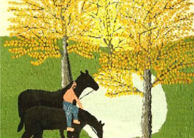 Man on a Horse by a Pond (1957)<br>oil on canvas board, 12x9 inches, SOLD