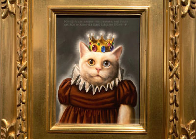 Miss Pussy America Wearing Her Cubic Zerconia Crown (1986)<br>oil on panel 8.625 x 7 inches (18 x 16 inches framed)<br>Frame museum quality, designed by the artist, hand carved, 24 karat gold leaf.