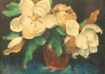 Mississippi Magnolias (1955)<br>oil on canvas board, 15.25x19.5 inches