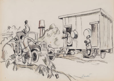Missouri Sharecroppers (1928)<br>watercolor, sepia, ink, graphite on paper, 10 x 13.25 inches