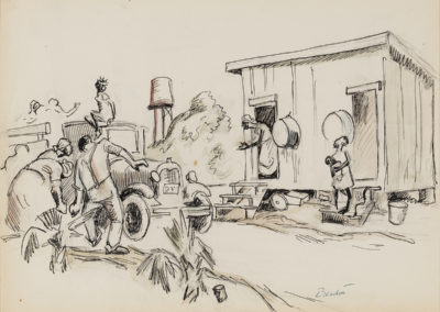 Missouri Sharecroppers (1928)<br>watercolor, sepia, ink, graphite, 10 x 13.25 inches
