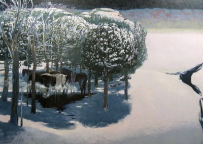 Moon on Cedar Break (2010)<br>oil on canvas, 38x72 inches
