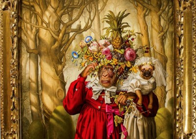Mrs. Rogers and Jane in the Woods Outside Brenda's Nut Farm Awaiting Arrival of the Virgin Mary Who Often Disguised as a General Electric Refrigerator or As a Floating Picnic Ham (1995)<br>oil on canvas, 34x30 inches, 42.6x38.5 inches framed, Sold