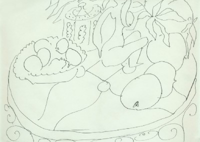Nature Morte (1945)<br>India ink on woven paper, 15.75x20.5 inches