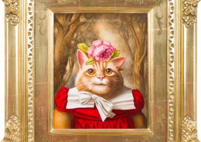 Naughty Judy (1996)<br>oil on panel, 11 x 9 inches (20 x 18 inches framed)<br>Frame museum quality, designed by the artist, hand carved, 24 karat gold leaf.