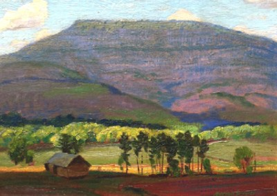 New Mexico Landscape (circa 1933)<br>oil on paper, 9x12 inches