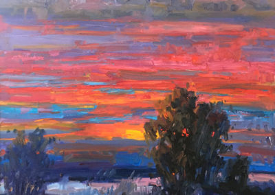 New Mexico Sunset<br>oil on canvas, 35 x 35 inches (40.5 x 40.5 framed)