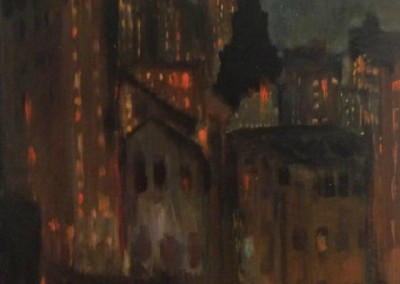 New York City Nightscape (c. 1910)<br>oil on artist board, 20x16 inches