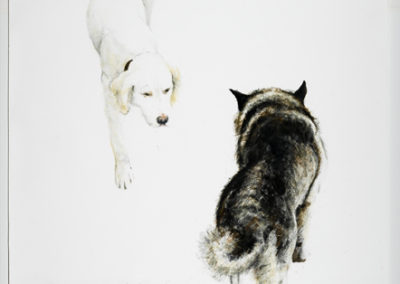 Old Dogs New Tricks<br>mixed media on paper, 72 x 48 inches