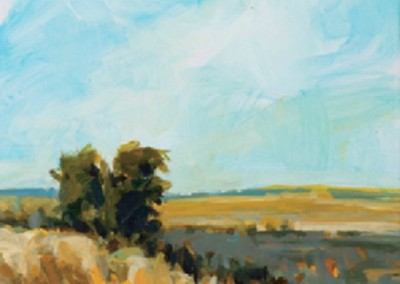 On the Way Home - West (2012)<br>acrylic on paper, 7x5 inches, 20x16 inches framed