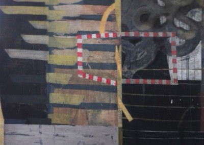 Origin: dependent; certainty (2005)<br>mixed media on canvas, 48x48 inches