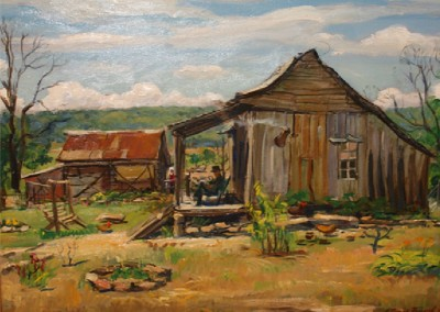 Ozark Cabin (1938)<br>oil on canvas, 18x24 inches, SOLD