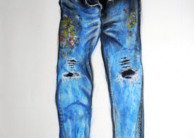 Painters Pants I (2014)<br>oil and dry pigment on paper, 60 x 42 inches