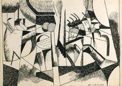 Paysage (1914)<br>ink on paper, 8.5x10.8 inches
