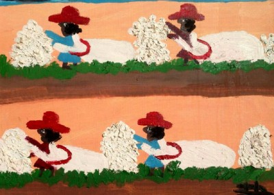 Picking Cotton (c. 1980)<br>oil on board, 14x18 inches