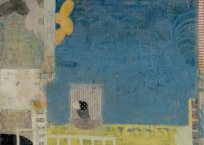 Pragmatic: determined; paradigm (2012)<br>oil and mixed media on canvas, 30 x 40 inches