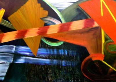 Preemptive (2010)<br>oil on canvas, 48x96 inches