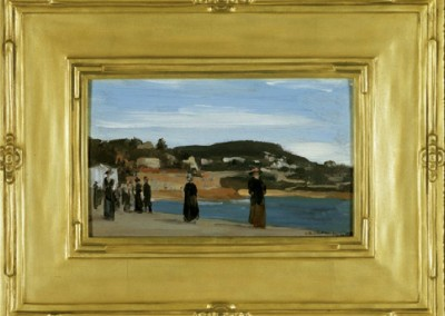 Promedad Along the Beach, Nice (1909)<br>oil on panel, 5.25x8.5 inches, 14x10.5 inches framed