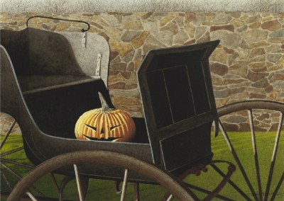 Pumpkin Carriage (2014)<br>mixed media on watercolor paper, 13.75x17.75 inches