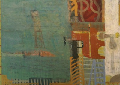 Question:  articulation; experience (2007)<br>oil and mixed media on canvas, 48x60 inches
