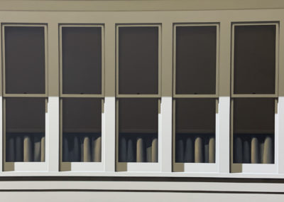 Quintet Gold (1990)<br>acrylic on canvas, 43 x 84 inches