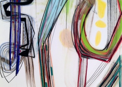Race to the Top (2015)<br>pastel, ink on paper, 49 x 21 inches
